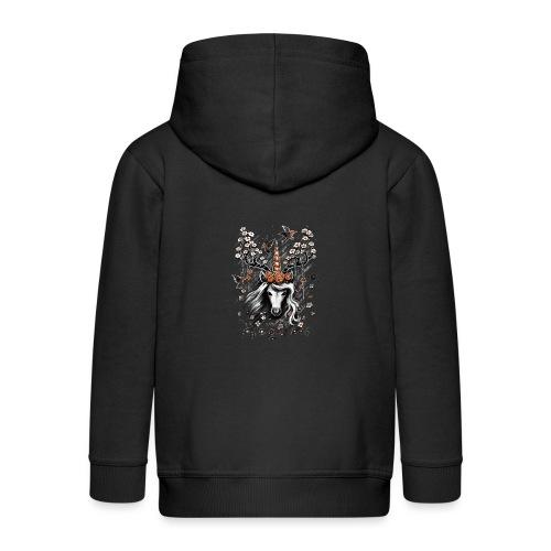 Deer Unicorn Flowers - Kids' Premium Zip Hoodie
