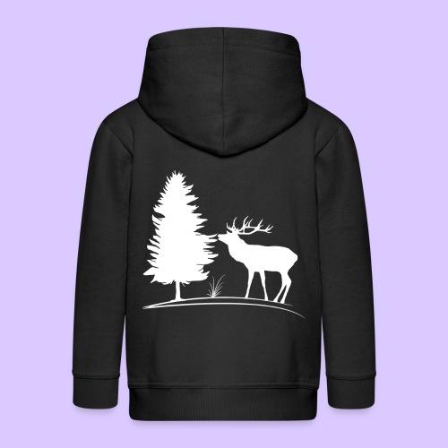 Hirsch, Geweih, Rehbock, Jagd, Wald, Baum, Wild - Kinder Premium Kapuzenjacke
