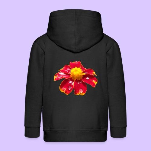 rote Ringelblume mit Regentropfen, Blume, Blüte - Kinder Premium Kapuzenjacke