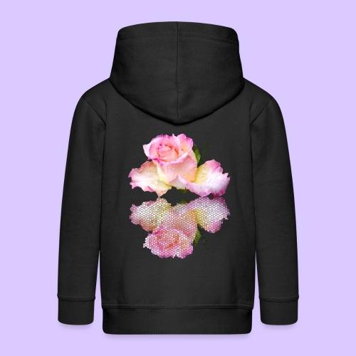pinke Rose mit Regentropfen im Spiegel, rosa Rosen - Kinder Premium Kapuzenjacke