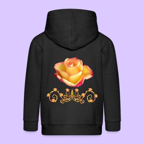 orange Rose, Ornament, Rosen, Blumen, Blüten, edel - Kinder Premium Kapuzenjacke