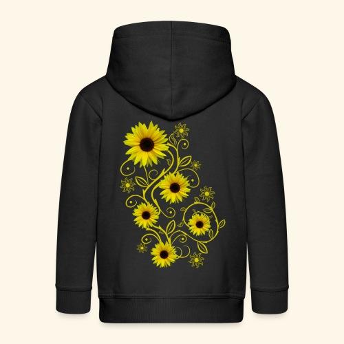 gelbe Sonnenblumen, Ornamente, Sonnenblume, Blumen - Kinder Premium Kapuzenjacke