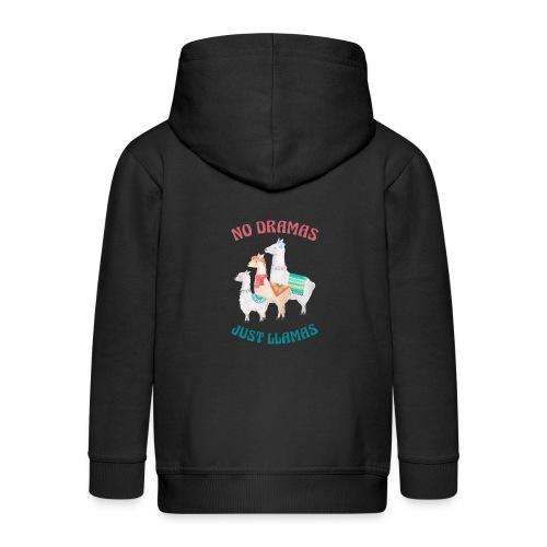 No Dramas Just Llamas - Kids' Premium Zip Hoodie