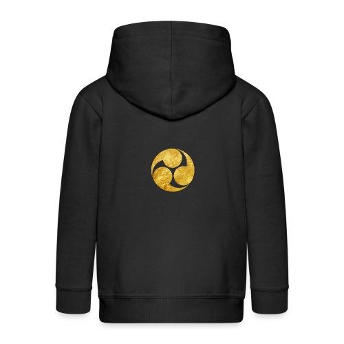 Kobayakawa Mon Japanese clan gold on black - Kids' Premium Zip Hoodie