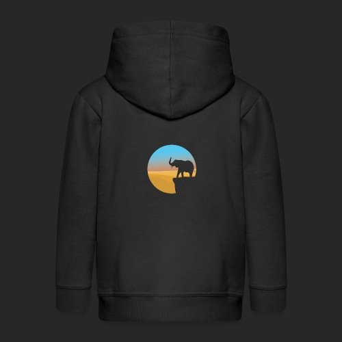 Sunset Elephant - Kids' Premium Zip Hoodie