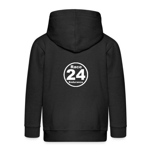 Race24 round logo white - Kids' Premium Zip Hoodie