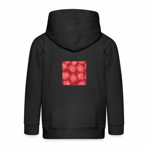 Róże - Rozpinana bluza dziecięca z kapturem Premium