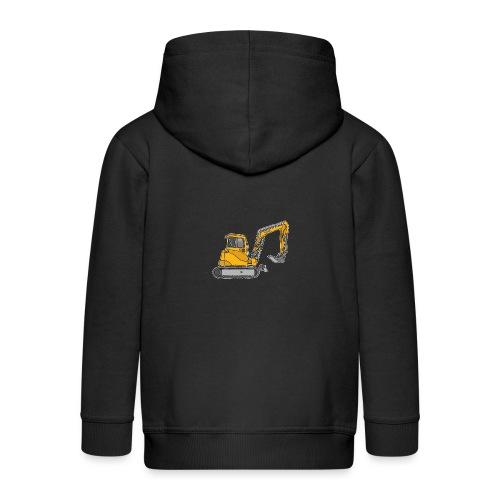 BAGGER, gelbe Baumaschine mit Schaufel und Ketten - Kinder Premium Kapuzenjacke