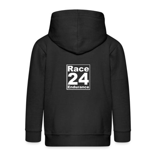 Race24 Logo - White - Kids' Premium Zip Hoodie