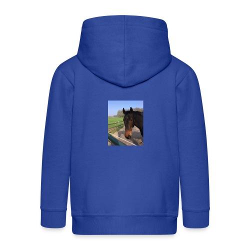 Met bruin paard bedrukt - Kinderen Premium jas met capuchon