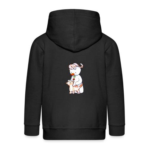 Deux petits chats et Jou le bonhomme de neige - Veste à capuche Premium Enfant