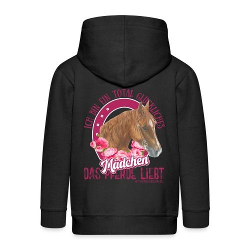 Glückliches Pferdemädchen - Kinder Premium Kapuzenjacke