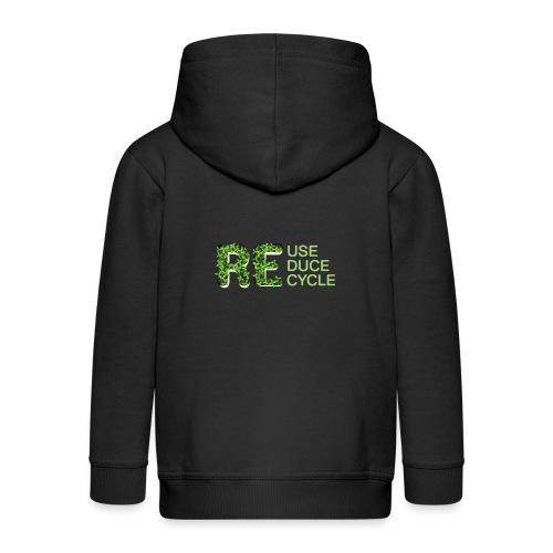 REuse REduce REcycle - Felpa con zip Premium per bambini