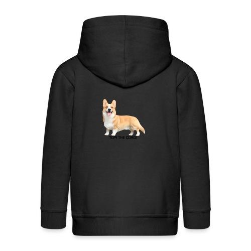 Topi the Corgi - Black text - Kids' Premium Hooded Jacket