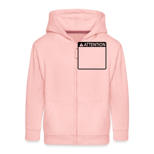 Attention Sign (1 colour) - Kids' Premium Zip Hoodie