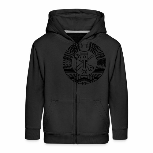 DDR Tuning Coat of Arms 1c (+ Your Text) - Kids' Premium Zip Hoodie