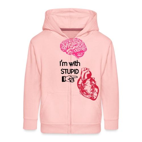 I'm with stupid (brain & heart) - Felpa con zip Premium per bambini