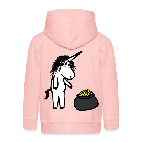 Oro unicorno - Felpa con zip Premium per bambini