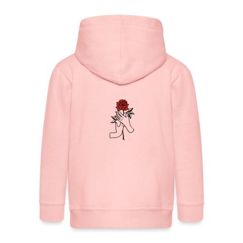 Fiore rosso - Felpa con zip Premium per bambini