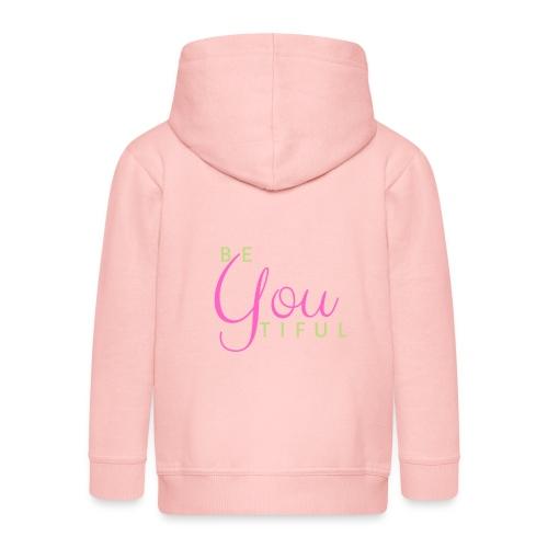 BeYouTiful grün-pink - Kinder Premium Kapuzenjacke