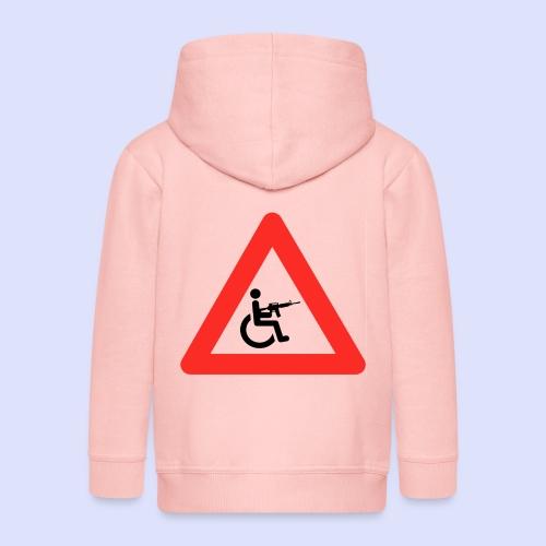 Pas op rolstoel gebruiker met wapen 003 - Kinderen Premium jas met capuchon