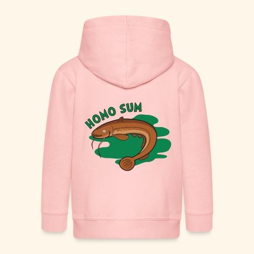 Homo sum ;) - Rozpinana bluza dziecięca z kapturem Premium
