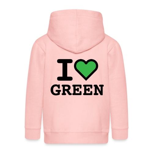 i-love-green-2.png - Felpa con zip Premium per bambini