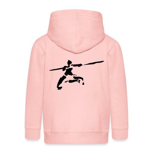 Kungfu stick fighter / ink - Kids' Premium Zip Hoodie