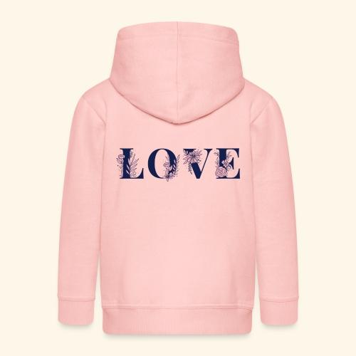 Typographie -LOVE - Fleurie - St Valentin - Veste à capuche Premium Enfant