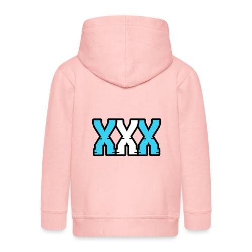 XXX (Blue + White) - Kids' Premium Zip Hoodie
