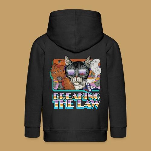 Crime Cat in Shades - Braking the Law - Rozpinana bluza dziecięca z kapturem Premium