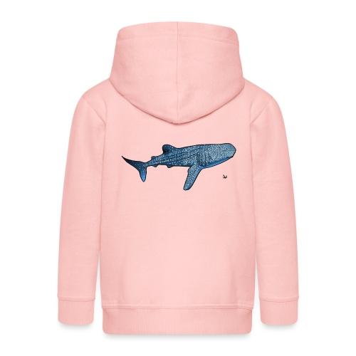 Rekin wielorybi - Rozpinana bluza dziecięca z kapturem Premium