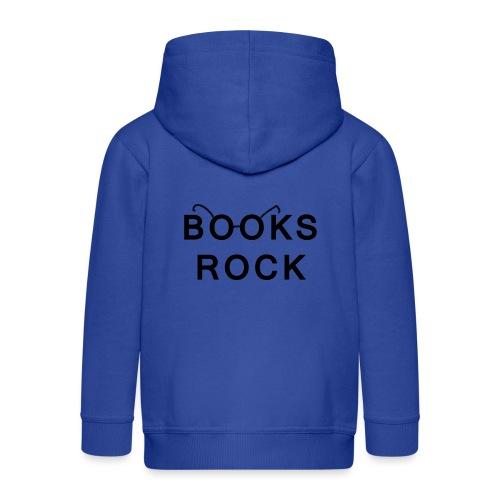 Books Rock Black - Kids' Premium Zip Hoodie