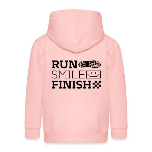 Run Smile Finish Marathon-Motto - Kinder Premium Kapuzenjacke