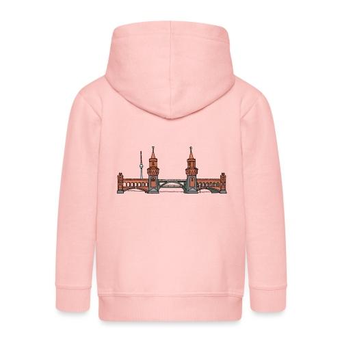 Oberbaumbrücke w Berlinie c - Rozpinana bluza dziecięca z kapturem Premium