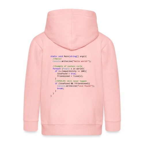 Love seen by a C# programmer - Felpa con zip Premium per bambini