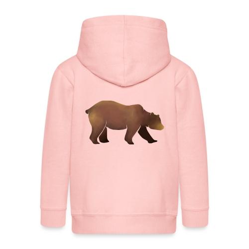 Silhouette eines Bären in Brauntönen - Kinder Premium Kapuzenjacke