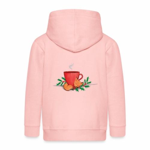 Świąteczny lisek - Rozpinana bluza dziecięca z kapturem Premium