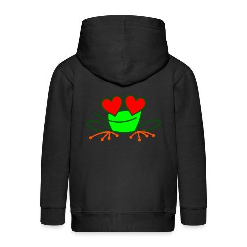 Frog in Love - Kids' Premium Zip Hoodie