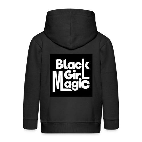 Black Girl Magic 2 White Text - Kids' Premium Zip Hoodie