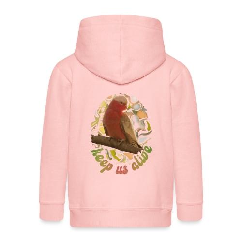 Galah Parrot Keep Us Alive 70s background - Kids' Premium Zip Hoodie