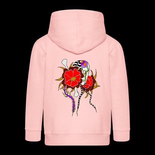 Le skull et les fleurs rouges - Veste à capuche Premium Enfant