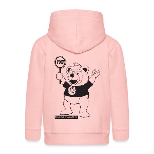 FUPO der Bär. Druckfarbe schwarz - Kinder Premium Kapuzenjacke