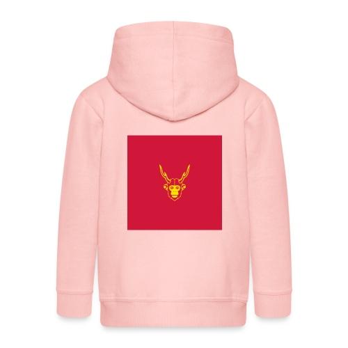 scimmiacervo sfondo rosso - Felpa con zip Premium per bambini