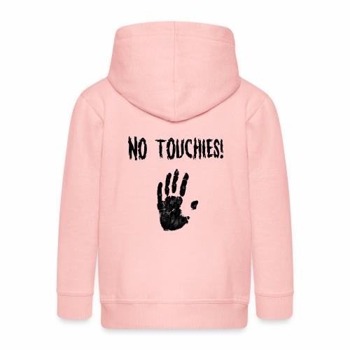 No Touchies in Black 1 Hand Below Text - Kids' Premium Hooded Jacket