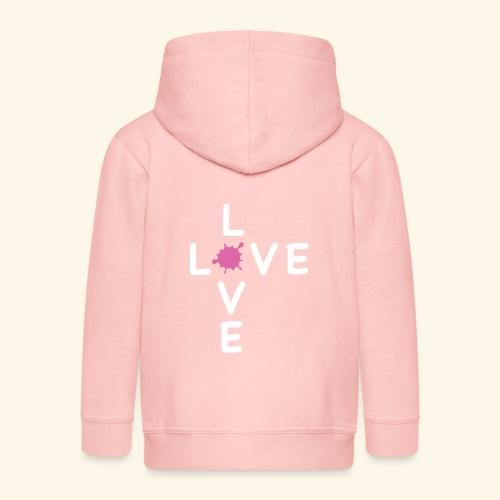 LOVE Cross white klecks pink 001 - Kinder Premium Kapuzenjacke