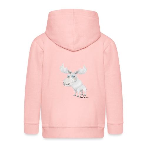 Łoś albinos - Rozpinana bluza dziecięca z kapturem Premium