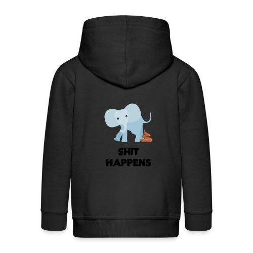 olifant met drol shit happens poep schaamte - Kinderen Premium jas met capuchon