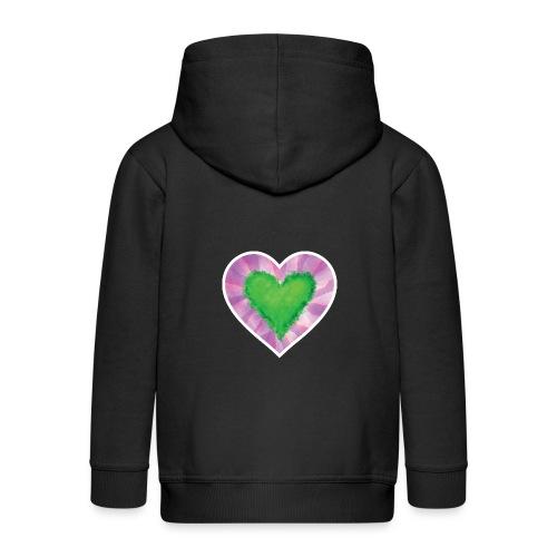 Green Heart - Kids' Premium Zip Hoodie