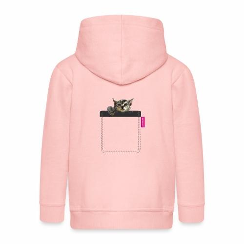 Kätzchen in Brusttasche - Kinder Premium Kapuzenjacke